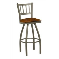 "Steel Jailhouse Back 24"" Metal Swivel Barstool with Wood Seat"