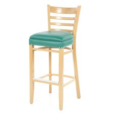 "Beechwood 30"" Ladder Back Padded Wood Barstool"