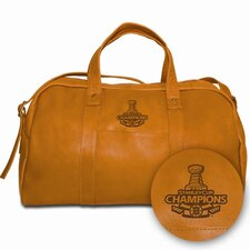 "<strong>Pangea Brands</strong> NHL Limited Edition Boston Bruins Stanley Cup Champs 18"" Leather Corey Travel Duffel"