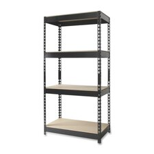 "4-Shelf Horse Riveted Steel Unit, Steel, 30""x16""x60"", Black"