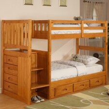<strong>Discovery World Furniture</strong> Weston Twin over Twin Staircase Bunk Bed with Storage