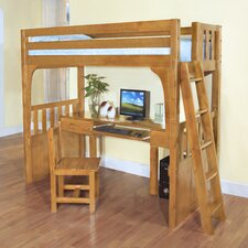Convertible Twin Low Loft Bed with Desk