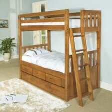 <strong>Discovery World Furniture</strong> Convertible Twin over Twin Three Drawer Bunk Bed with Trundle Bed