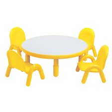 Round Baseline Preschool Table and Chair Set in Canary Yellow