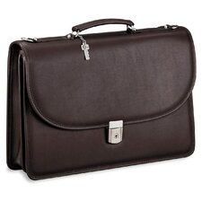 <strong>Jack Georges</strong> Platinum Double Gusset Leather Briefcase