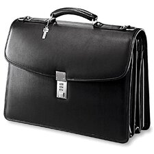 Platinum Triple Gusset Leather Laptop Briefcase