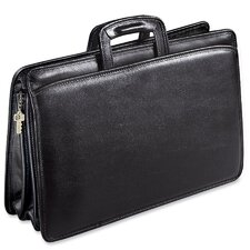 University Double Gusset Zip Top Tri-Pocket Briefcase