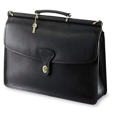 University Single Gusset Turn Leather Briefcase
