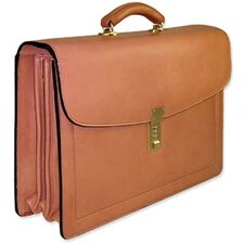 Belting Triple Gusset Flap Over Briefcase with Combination Lock
