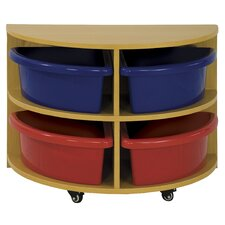 Half Circle Low Storage Center 4 Compartment Cubby