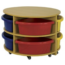 Two Piece Round Low Storage Center 8 Compartment Cubby