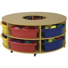 Two Piece Curved Low Storage Center 8 Compartment Cubby