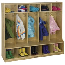 5 Section Coat Locker With Bench