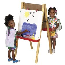<strong>ECR4kids</strong> Hardwood Adjustable Floor Easel with Chalk and Dry-Erase Board