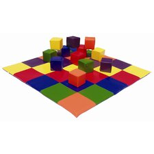 <strong>ECR4kids</strong> Patchwork Mat & Toddler Blocks Set in Primary Colors