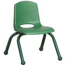 "6ECR4Kids 10"" Plastic Stack Chair with Matching Painted Legs-- Green (Set of 6)"