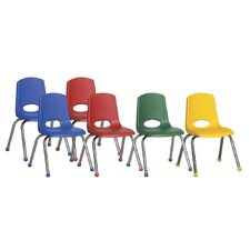 "14"" Plastic Stack Chair with Chrome Legs (Set of 6)"