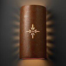 Sun Dagger Open Top and Bottom Big Cylinder 2 Light Wall Sconce
