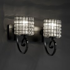 <strong>Justice Design Group</strong> Wire Glass Victoria 2 Light Vanity Light