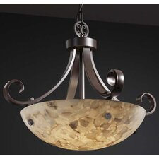 <strong>Justice Design Group</strong> Alabaster Rocks 3 Light Inverted Pendant Bowl Scrolls with Finials