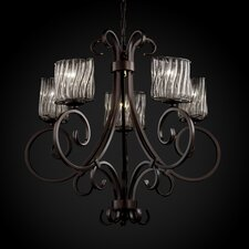 Wire Glass Victoria 5 Uplight Chandelier