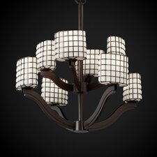 Wire Glass Bend 8 Light Chandelier