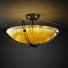 <strong>Justice Design Group</strong> Veneto Luce Crossbar 3 Light Semi Flush Mount