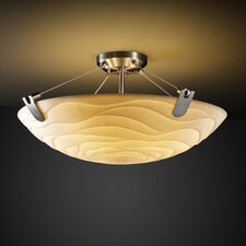 Porcelina U-Clips 3 Light Semi Flush Mount