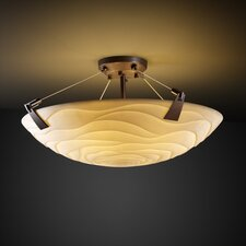 Porcelina Tapered Clips 3 Light Semi Flush Mount