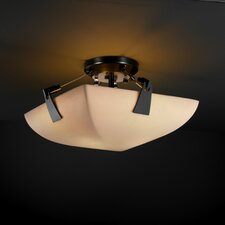 <strong>Justice Design Group</strong> Tapered Clips Porcelina 2 Light Semi Flush Mou