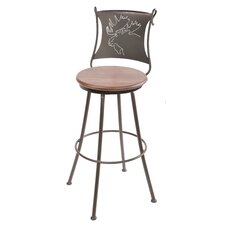 "<strong>Stone County Ironworks</strong> Bull Moose 30"" Swivel Bar Stool with Cushion"