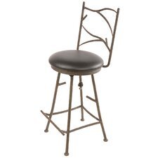 "Pine Swivel 30"" Barstool with Black Seat"