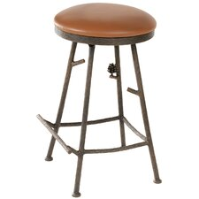 "Pine 25"" Swivel Counter Height Barstool with Camel Tan Seat"