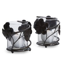 Rustic Flowers Metal and Glass Votive (Set of 2)