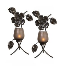 Rustic Flowers Metal Sconce (Set of 2)