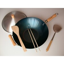 "<strong>Taylor & Ng</strong> 5 Piece 14"" Preseasoned Flat Bottom Wok Set"