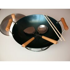 "6 Piece 14"" Preseasoned Double Handle Round Bottom Wok Set"