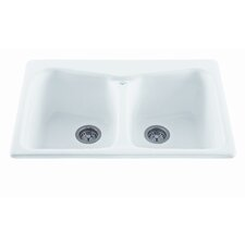 "Reliance 33"" x 22"" Colonial Double Bowl Kitchen Sink"