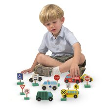 Wooden Vehicles and Traffic Signs Play Set