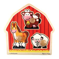 <strong>Melissa and Doug</strong> Barnyard Animals Jumbo Wooden Knob Puzzle