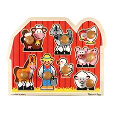<strong>Melissa and Doug</strong> Large Farm Jumbo Wooden Knob Puzzle
