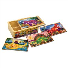 <strong>Melissa and Doug</strong> Dinosaurs in a Box Wooden Jigsaw Puzzle