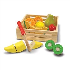 18 Piece Play Food Cutting Fruit Crate