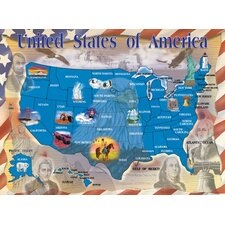 Map of the U.S.A. Cardboard Jigsaw Puzzle