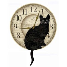 "14"" Wagging Pendulum Cat Wall Clock"