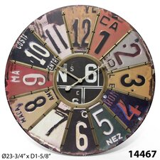 "Oversized 24"" Traveler License Plate Wall Clock"
