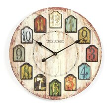 "<strong>Infinity Instruments</strong> Oversized 23.75"" Weathered Plank Wall Clock"