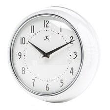 Retro Round Metal Wall Clock In White