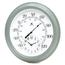 The Contra Outdoor Wall Clock / Thermometer