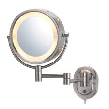 Lighted 5X Magnifying Plug-In Wall Mirror